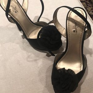 Size 11 black high heel with fabric flower